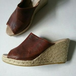 Gaimo Shoes - Gaimo Anthro Brown Leather Espadrille Wedge Shoes